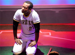 Modesto Lacen in role of Roberto Clemente at GALA Theater.