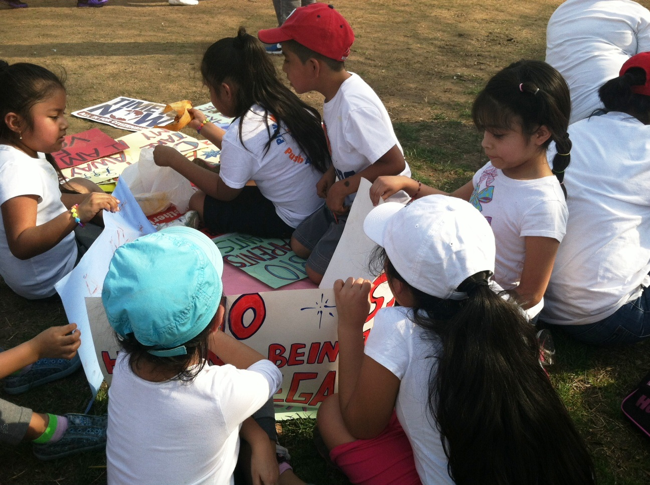 Students get  hands on civic lesson at the Immigration Reform Rally.