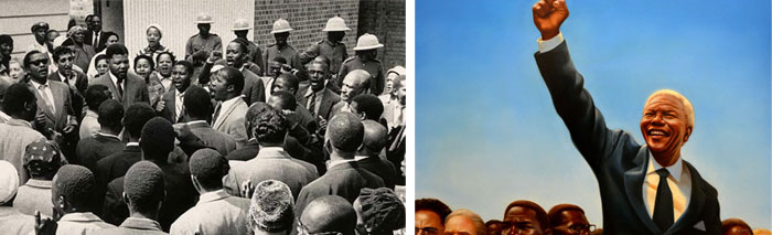 Nelson Mandela is portrayed as a solitary leader who rose above his people, instead of being part of a collective movement. Images: (l) Nelson Mandela and friends sing 'Nikosi Sikelel I Afrika' at the end of their trial for treason in South Africa, 3/29/61. (r) Image from the picture book Mandela.