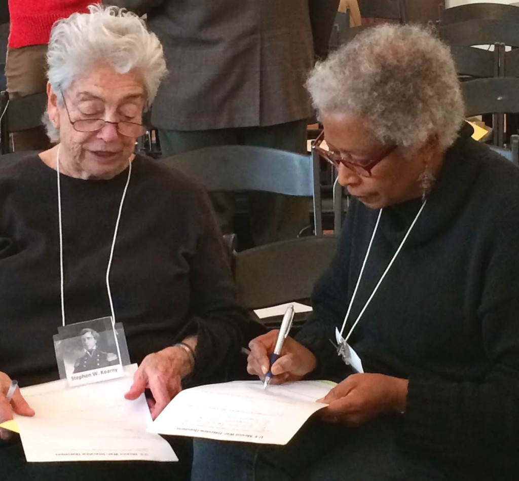 Alice Walker engaged in lesson facilitated by Julian Hipkins at NYU.