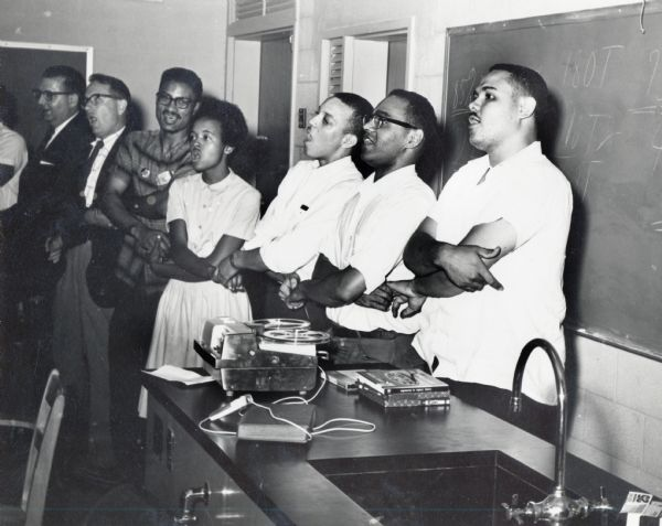 Third from left, Myles Horton, William Miller, Joyce Ladner, Dave Dennis, Bob Moses and Lawrence Guyot.