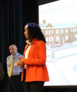 Carrie Ellis welcomes guests at African American Civil War Museum.