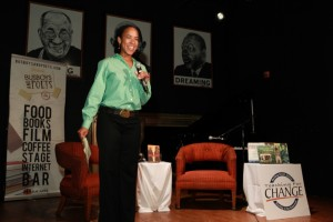 Carrie Ellis welcomes audience for Black Indians author event in May, 2012. Photo by Rick Reinhard.