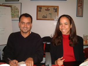 Jacob Mann and Carrie Ellis at a 2004 board meeting.
