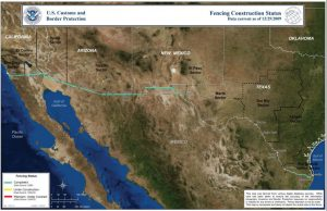 As of February 10, 2012, the Department of Homeland Security had completed 651 miles of fencing out of nearly 652 miles mandated by Congress, including 299 miles of vehicle barriers and 352 miles of pedestrian fence.(http://www.globalsecurity.org/security/systems/mexico-wall.htm)