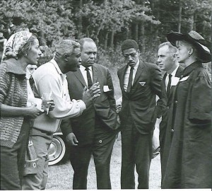 Rachel and Jackie Robinson in discussion with James Farmer of CORE, Timothy Jenkins of SNCC, and Mr. & Mrs. Goodman, the parents of Andrew Goodman.