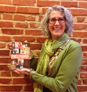 Teaching for Change board chair Kate Tindle with book she contributed to on race and education.