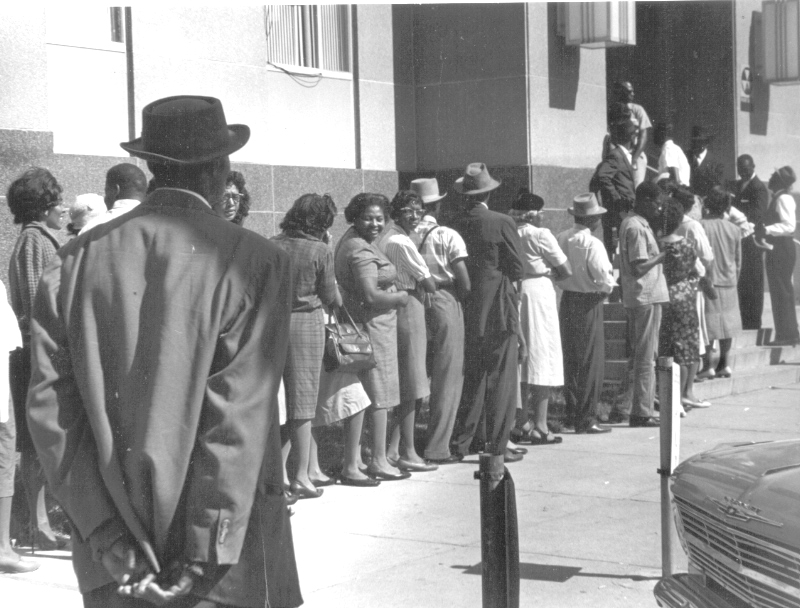 """Freedom Day"" in Selma, October 1963. Blacks line up at the courthouse to apply to register to vote. (c) John Kouns."
