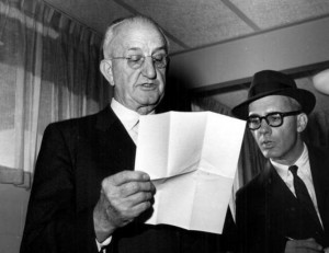 Journalist Claude Sitton looks on as Regents Chairman Robert O. Arnold announces that reporters will be banned from certain buildings at the University of Georgia in 1961, during the unrest of the civil rights movement. (c) The Atlanta Journal-Constitution.