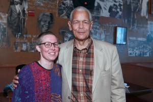 Editor Emilye Crosby with Julian Bond at the event for her book, Civil Rights History from the Ground Up: Local Struggles, a National Movement. © Rick Reinhard 5/23/2011