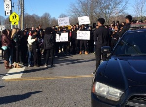 Students at Mount Hebron High School in Ellicott City, Md., walked out of school on Tuesday, Feb. 2 after a student video disparaging the Black Lives Matter movement went viral. (Donna St. George/The Washington Post)