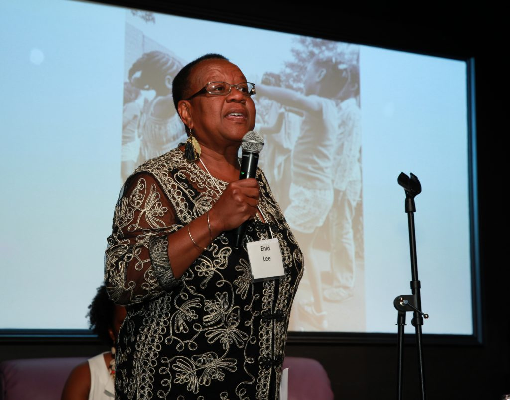 Enid Lee speaking at the Teaching for Change 25 Live event. © Rick Reinhard 2016